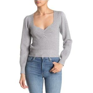 NEW ASTR the Label Sweetheart Neck Cropped Sweater
